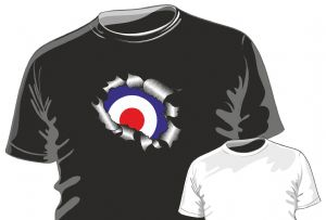RIPPED TORN METAL Design With Retro RAF MOD Style Target Motif mens or ladyfit t-shirt